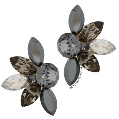 Mini Lotus 2cm Sini-BlackDiamond-JetHematite-SilverShade