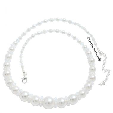 Joplin Pearl Necklace Clear-WhitePearl