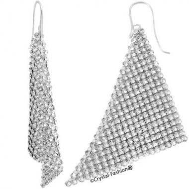 Mesh Suspended Triangle Earrings 10cm