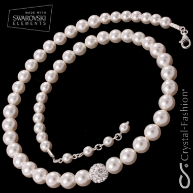 Winter Pearl Necklace Clear-WhitePearl