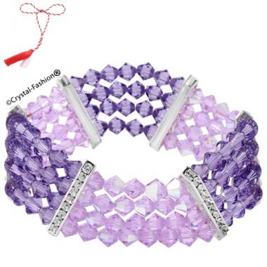 Bicone 4 Row Zig-Zag Elastic Bracelet