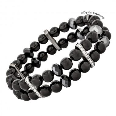 Briolette Pearl 2 Row Elastic Bracelet