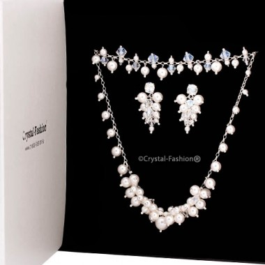 Bunched Crystal-Pearl Set