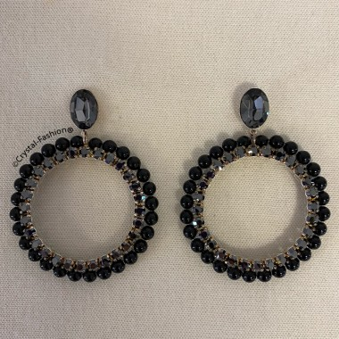 Small Pearl Chaton Round Earrings 7cm JetHematite-MysticBlackPearl