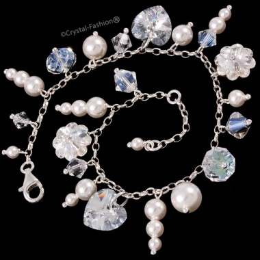 Bunched Crystal-Pearl Bracelet