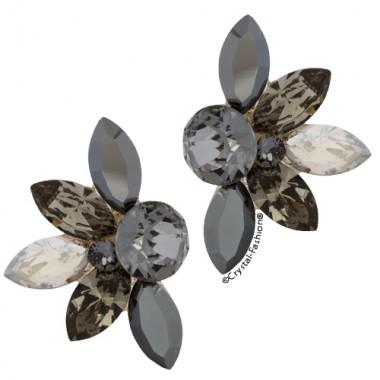 Mini Lotus 2cm Sini-BlackDiamond-JetHematite-SilverShade