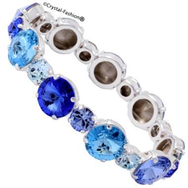 Multi Color Rivoli Chaton Elastic Bracelet (12/ss34)