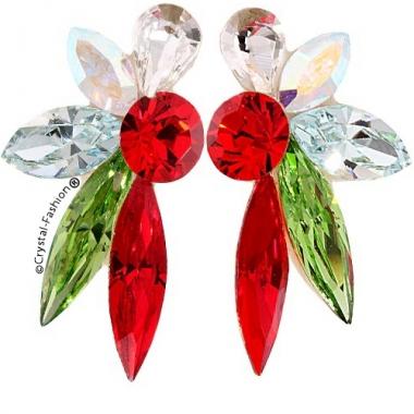 Chaton Slim Fan Earrings 3,3 cm Clear-AB-LtAzore-Peridot-LtSiam
