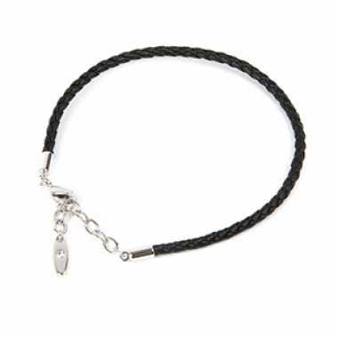 Leather Bracelet - 17 cm Rhodium plated