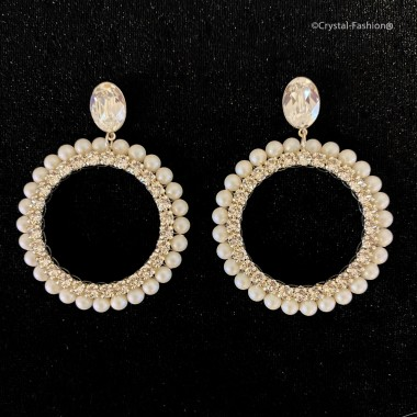 Small Pearl Chaton Round Earrings 7cm Clear-PearlescentWhitePearl