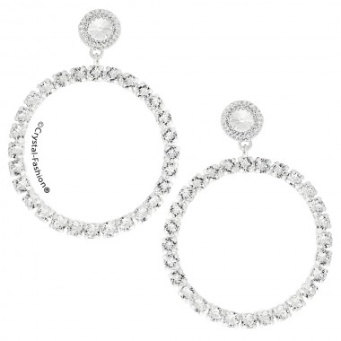 Chaton Round Earrings 8cm s Clear