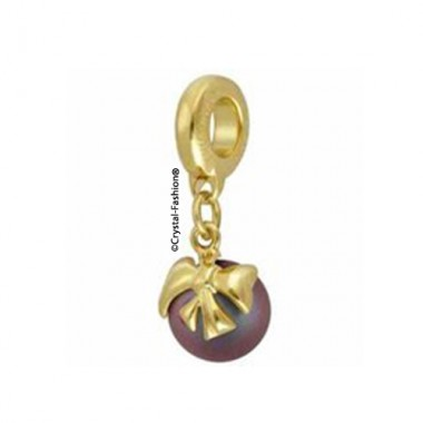 BeCharmed Pavé Pearl Bow 8mm IridescentRedPearl